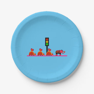 Moody Stoplight with Heart Caravan 7 Inch Paper Plate