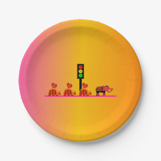 Moody Stoplight with Heart Caravan, Dreamy Backgnd 7 Inch Paper Plate