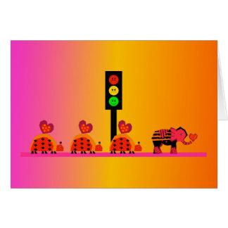 Moody Stoplight with Heart Caravan, Dreamy Backgnd Card