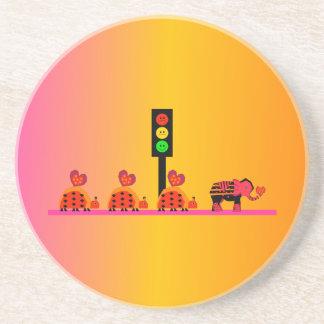 Moody Stoplight with Heart Caravan, Dreamy Backgnd Coaster