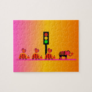 Moody Stoplight with Heart Caravan, Dreamy Backgnd Jigsaw Puzzle