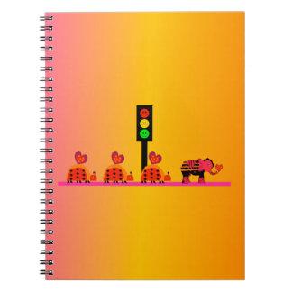Moody Stoplight with Heart Caravan, Dreamy Backgnd Notebook