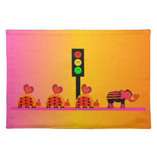 Moody Stoplight with Heart Caravan, Dreamy Backgnd Placemat