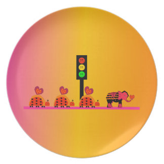 Moody Stoplight with Heart Caravan, Dreamy Backgnd Plate