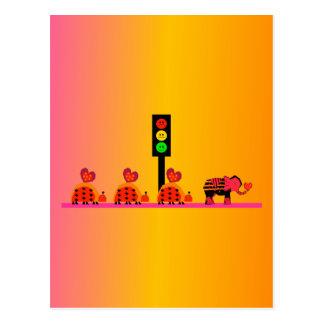 Moody Stoplight with Heart Caravan, Dreamy Backgnd Postcard