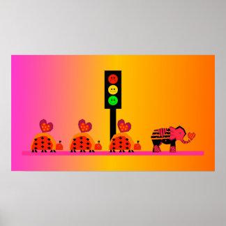 Moody Stoplight with Heart Caravan, Dreamy Backgnd Poster