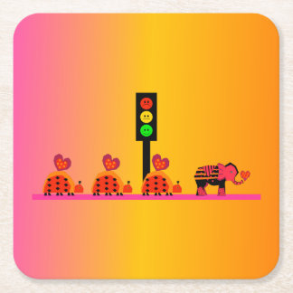 Moody Stoplight with Heart Caravan, Dreamy Backgnd Square Paper Coaster