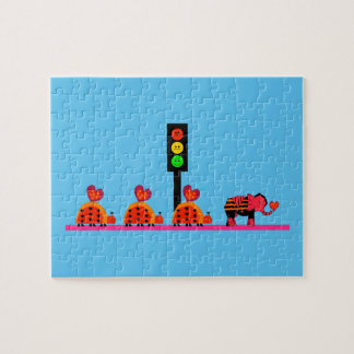 Moody Stoplight with Heart Caravan Jigsaw Puzzle