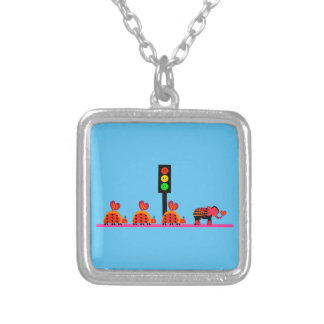 Moody Stoplight with Heart Caravan Silver Plated Necklace