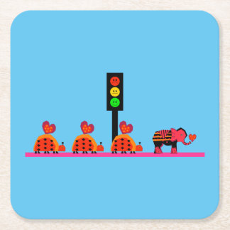 Moody Stoplight with Heart Caravan Square Paper Coaster