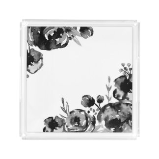 Moody Watercolor Floral Acrylic Tray