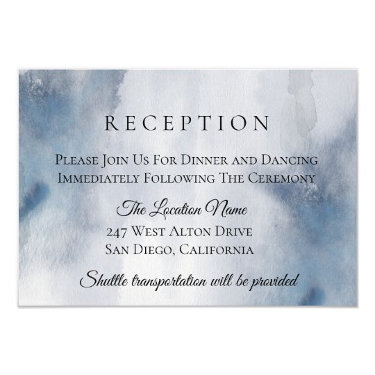 Moody Watercolor Wash Wedding Reception Card