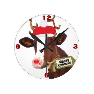 Mooey Merry Christmas Reindeer Cow Round Clock