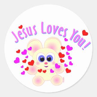 Mooky: Jesus Loves You! Round Sticker