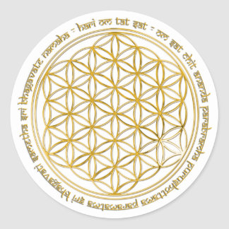 Moola mantra/flower of the life classic round sticker