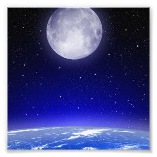 Moon Above Earth Photo Print