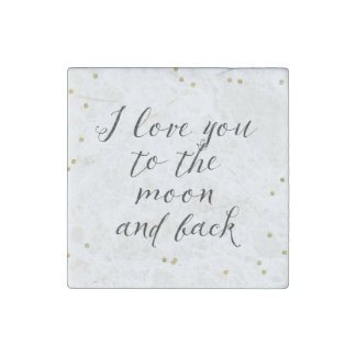 Moon and Back Gold Confetti Stone Magnets
