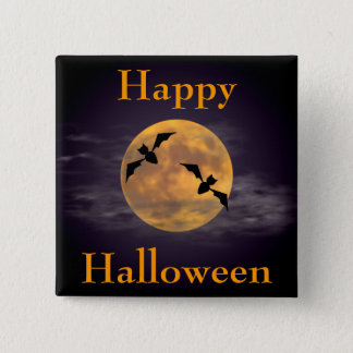 Moon and Bats 2 Inch Square Button