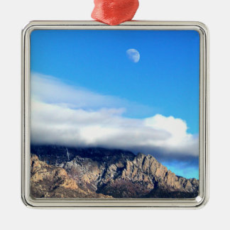 Moon and Clouds Over Sandias Silver-Colored Square Ornament