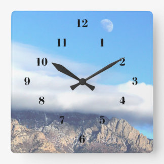 Moon and Clouds Over Sandias Square Wall Clock