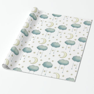 Moon and cloudy stars wrapping paper