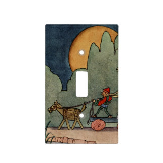 Moon and elf with barrel horse cart light switch cover