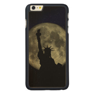 Moon and Lady Liberty Carved Maple iPhone 6 Plus Case