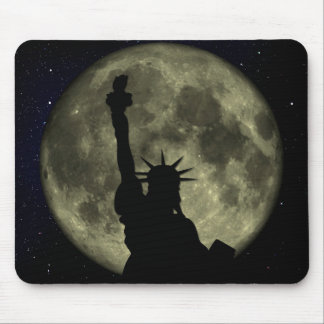 Moon and Lady Liberty Mouse Pad