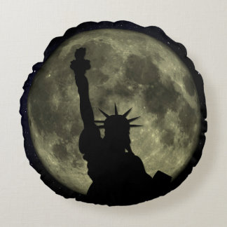 Moon and Lady Liberty Round Pillow