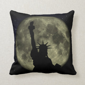 Moon and Lady Liberty Throw Pillow
