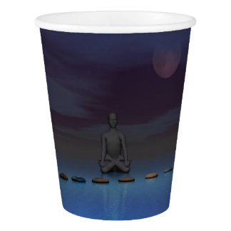 moon and man and steps paper cup