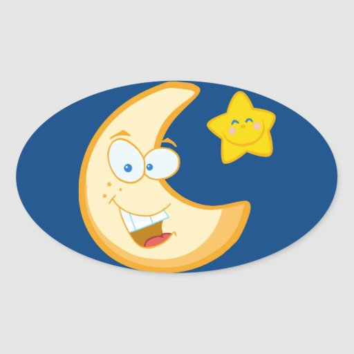 Moon and smiling star oval stickers