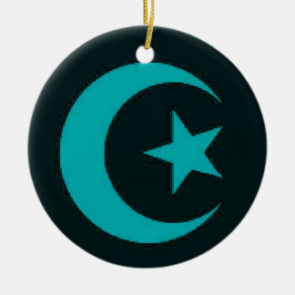 Moon and Star blue ornament