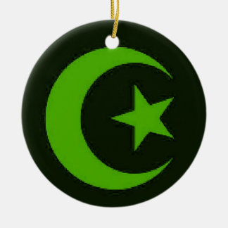 Moon and Star green ornament