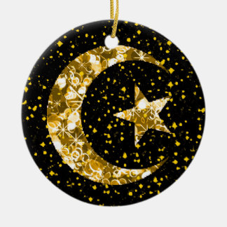 Moon and Star starry sparkly gold Round Ceramic Ornament