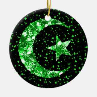 Moon and Star starry sparkly green Round Ceramic Ornament