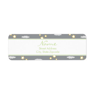 Moon and Stars Baby Shower Address Label