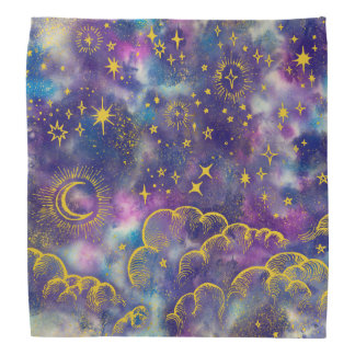 """Moon and Stars"" Bandana (Gold-Etc)"
