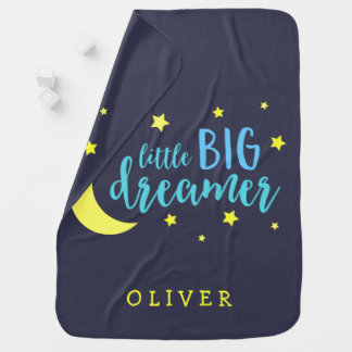 Moon and Stars Blue Little Big Dreamer Baby Blankets