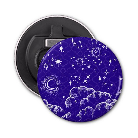 """""""Moon and Stars"""" Bottle Opener (WH/BLU/PUR) Button Bottle Opener"""