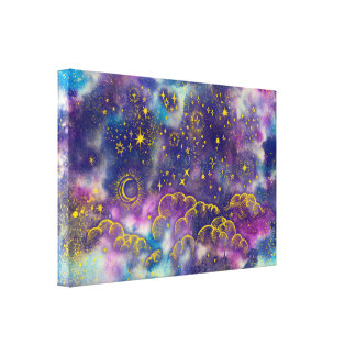 """Moon and Stars"" Canvas Art Print (Gold-Etc)"