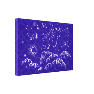 """Moon and Stars"" Canvas Art Print (WH/BLU/PUR)"