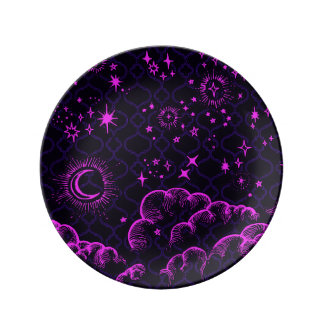 """Moon and Stars"" Decorative Plate (PK/BLK/PUR)"