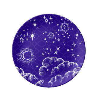"""Moon and Stars"" Decorative Plate (WH/BLU/PUR)"