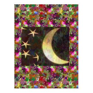 Moon and Stars : Elegant Starry night background Postcard