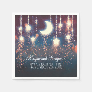 moon and stars enchanted romantic paper napkin