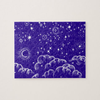 """Moon and Stars"" Jigsaw Puzzle Game (WH/BLU/PUR)"