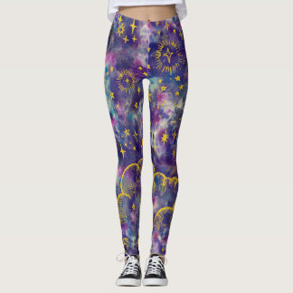 """""""Moon and Stars"""" Leggings Tights (Gold-Etc)"""