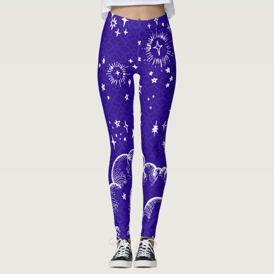 """Moon and Stars"" Leggings Tights (WH/BLU/PUR)"