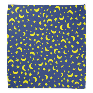 Moon and Stars on Dark Blue Background Bandana